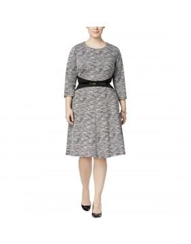 Calvin Klein viisakas pikkade varrukatega skater kleit+pihavöö