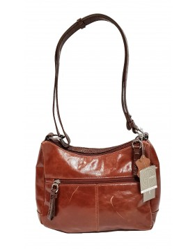 GIANI BERNINI HANDBAG, GLAZED LEATHER HOBO TOBACCO DEFEKTNE