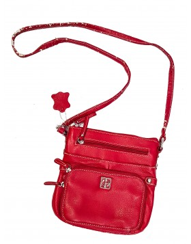 GIANI BERNINI HANDBAG, PEBBLE MULTI ZIP POCK RED DEFEKTNE