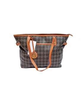 MARC FISHER CHECK MATE LARGE TOTE CHOCOLATE DEFEKTNE