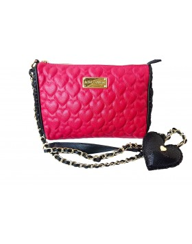 BETSEY JOHNSON HOLIDAY HEART CROSSBODY QUILTED PINK DEFEKTNE