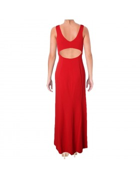 Lauren punane naiselik maksikleit avatud seljaosaga