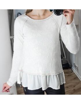 Miss Chievous kreemikas-valge sifoonist volangiga pluus